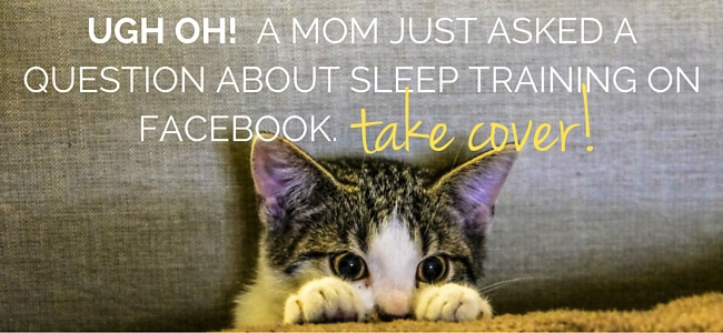 talking about sleep training on facebook